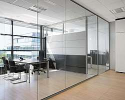 Divisória de sala comercial em vidro